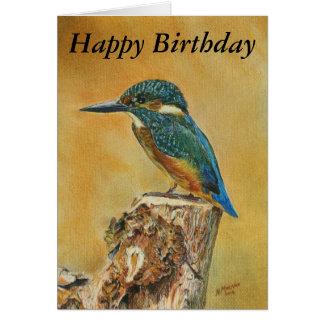 Belle carte d'anniversaire bleue de peinture de