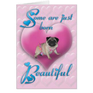 Belle carte d'anniversaire soutenue par carlin
