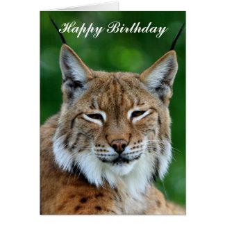 Belle carte de joyeux anniversaire de chat sauvage