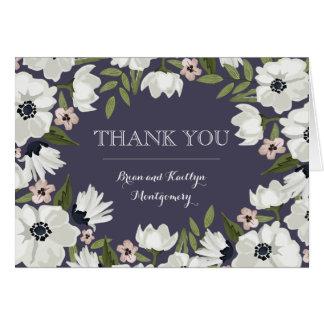 Belle carte de note florale de Merci - pourpre