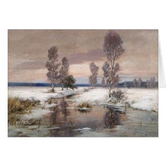belle carte de voeux de peinture d'hiver