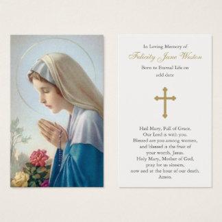Belle carte funèbre de prière de Vierge Marie
