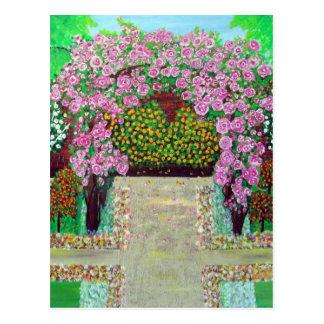 Belle carte postale florale de peinture d'arcade