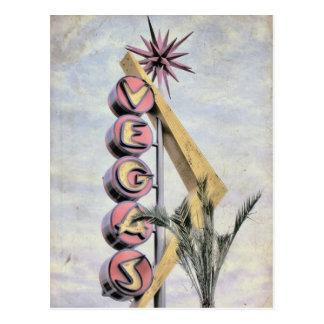 Belle carte postale vintage âgée de signe de Las