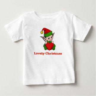 Belle chemise de bébé de coeur d'Elf de Noël T-shirt Pour Bébé