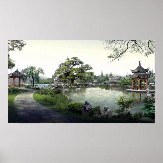 Belle conception asiatique exotique de paysage poster