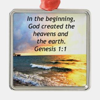 BELLE CONCEPTION DE CITATION DE BIBLE DE 1:1 DE ORNEMENT CARRÉ ARGENTÉ