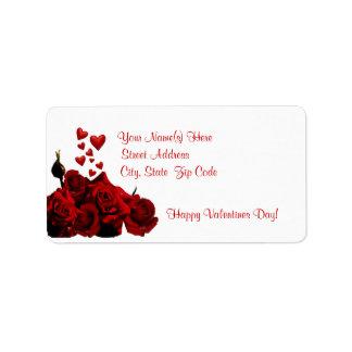 Belle conception rouge foncé rose et de coeur étiquette d'adresse