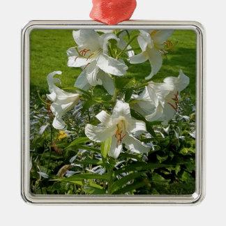 Belle copie de fleur ornement carré argenté