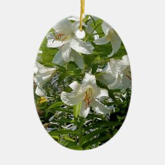 Belle copie de fleur ornement ovale en céramique
