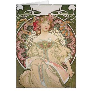 Belle dame - Mucha Carte De Vœux