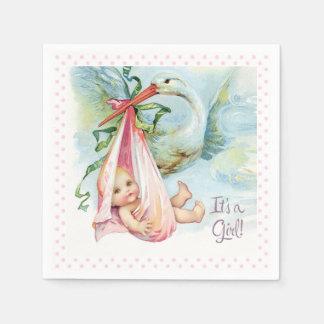 Belle douche vintage de bébé de cigogne serviette jetable
