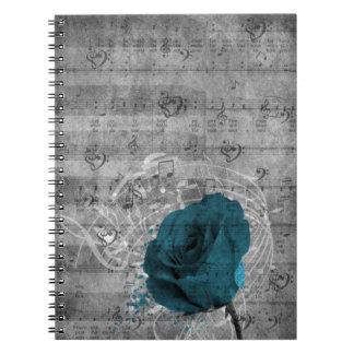 Belle éclaboussure antique de peinture de rose de  carnets