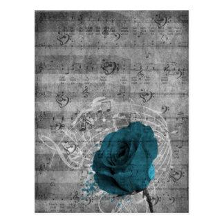 Belle éclaboussure antique de peinture de rose de cartes postales