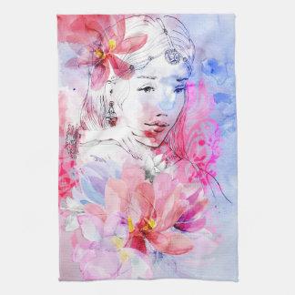 Belle fille avec un bouquet des fleurs serviette éponge