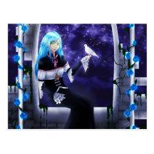 Belle fille mystérieuse d'Anime avec une colombe Cartes Postales