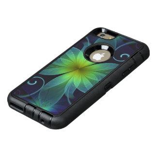 Belle fleur bleu-vert de fractale de lis coque OtterBox iPhone 6 et 6s plus