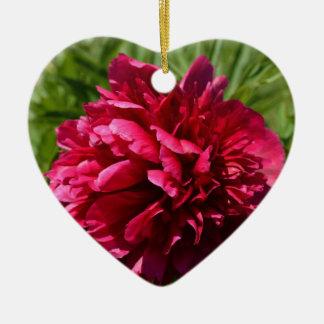 Belle fleur rose-foncé de pivoine - jardin floral ornement cœur en céramique