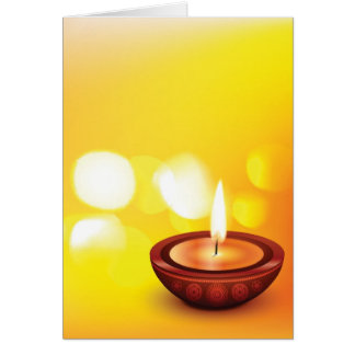 Belle illustration de diya de diwali carte de vœux