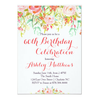 Belle invitation adulte florale d'anniversaire