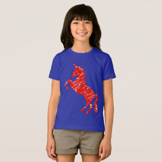 Belle licorne rouge t-shirt