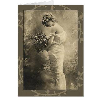 Belle Madame victorienne avec des fleurs coupées Cartes De Vœux