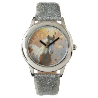 Belle montre de scintillement d'argent de cheval montres bracelet