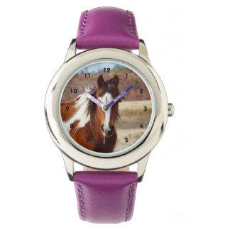 Belle montre d'enfants de cheval de peinture montres cadran