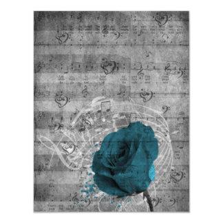 Belle musique antique d'éclaboussure de peinture carton d'invitation 10,79 cm x 13,97 cm