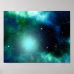Belle nébuleuse verte remplie d'étoiles poster