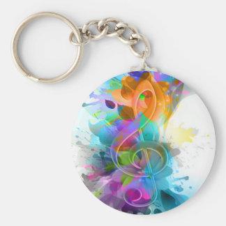 Belle note colorée et fraîche de musique d'éclabou porte-clé rond