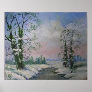 Belle peinture à l'huile de scène d'hiver affiche