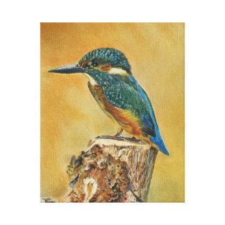 Belle peinture bleue de martin-pêcheur toile tendue sur châssis