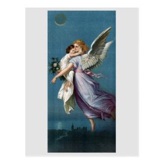 Belle peinture d'ange gardien carte postale