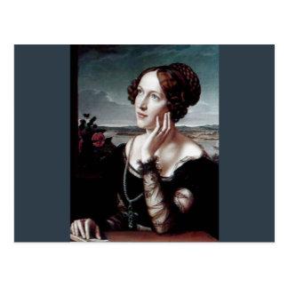 Belle peinture d'antiquité de femme de mode cartes postales
