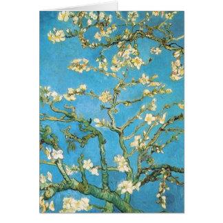 Belle peinture d'antiquité de fleur d'amande carte de vœux