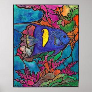 Belle peinture d'art de récif coralien de scalaire posters