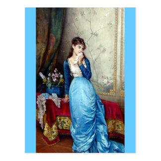 Belle peinture de dame carte postale