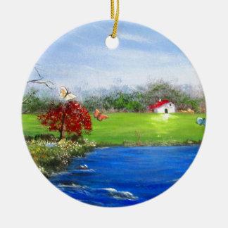 Belle peinture de paysage ornement rond en céramique