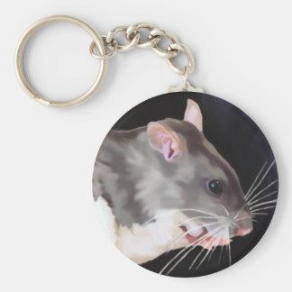 Belle peinture de rat porte-clé rond