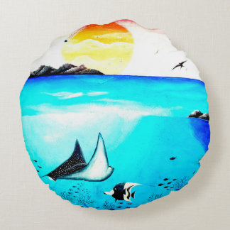 Belle peinture de scène sous-marine coussins ronds