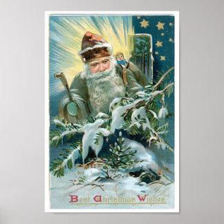 Belle peinture du père noël et des étoiles poster