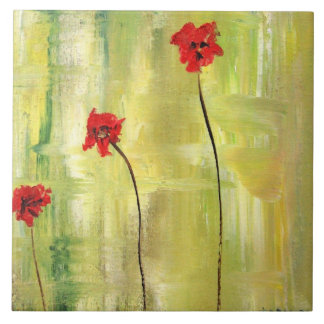 Belle peinture florale des anémones sur la tuile grand carreau carré