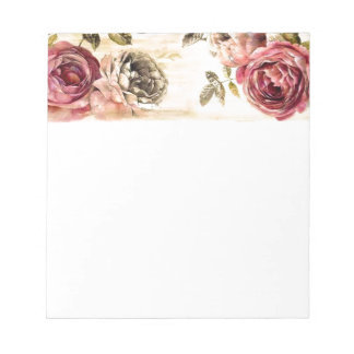 Belle peinture florale victorienne bloc-notes mémo