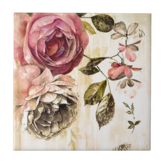 Belle peinture florale victorienne petit carreau carré