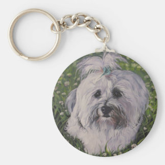 Belle peinture réaliste d'art de chien de Havanese Porte-clés