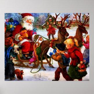 Belle peinture vintage de Noël Affiches