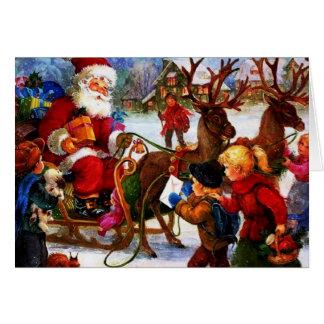 Belle peinture vintage de Noël Carte De Vœux