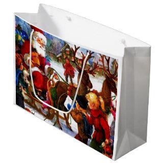 Belle peinture vintage de Noël Grand Sac Cadeau
