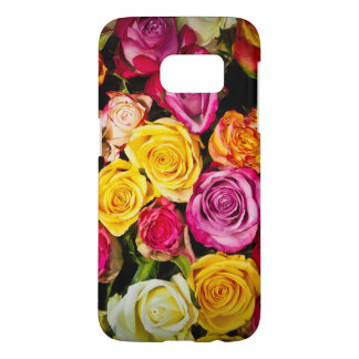 belle photo colorée élégante élégante de roses coque samsung galaxy s7